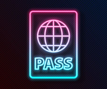 Glowing neon line Passport with biometric data icon isolated on black background. Identification Document. Vector Illustration Vectores