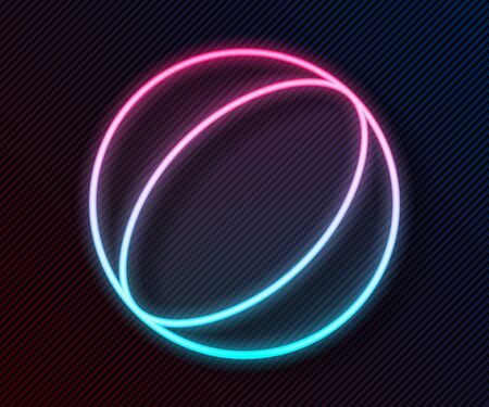 Glowing neon line Beach ball icon isolated on black background. Vector Illustration
