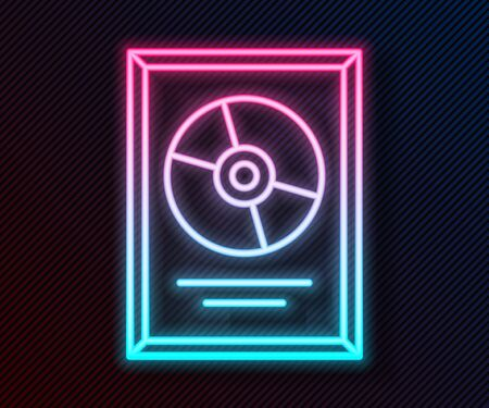 Glowing neon line CD disk award in frame icon isolated on black background. Modern ceremony. Best seller. Musical trophy. Vector Illustration