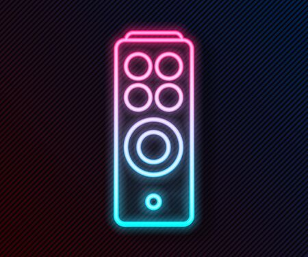 Glowing neon line Remote control icon isolated on black background. Vector Illustration Illustration