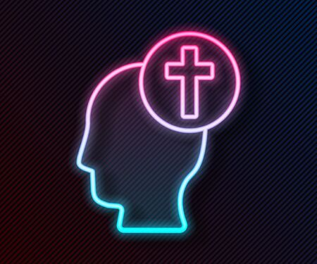 Glowing neon line Human head with christian cross icon isolated on black background. Vector Illustration