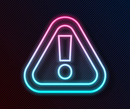Glowing neon line Exclamation mark in triangle icon isolated on black background. Hazard warning sign, careful, attention, danger warning important. Vector Illustration 向量圖像