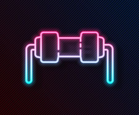 Glowing neon line Resistor electricity icon isolated on black background. Vector Illustration