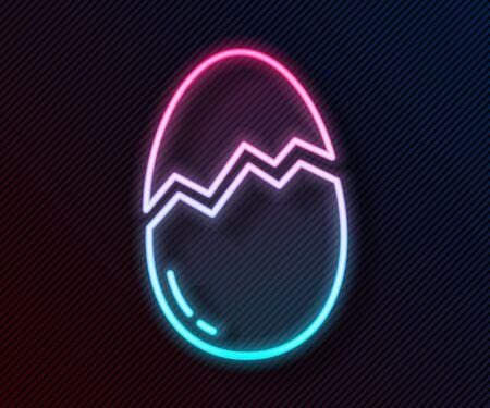 Glowing neon line Broken egg icon isolated on black background. Happy Easter. Vector Illustration Vector Illustratie