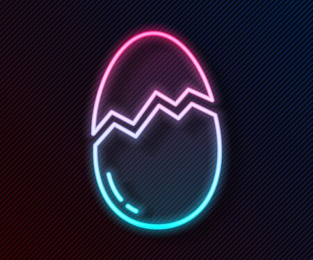 Glowing neon line Broken egg icon isolated on black background. Happy Easter. Vector Illustration