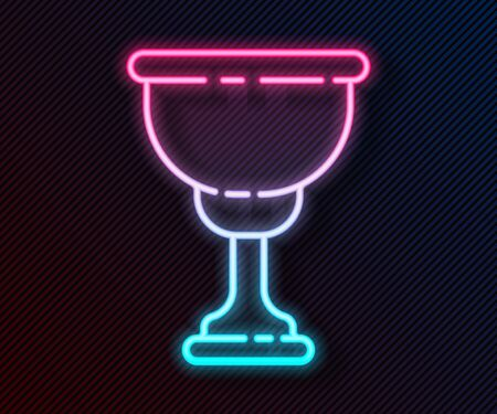 Glowing neon line Christian chalice icon isolated on black background. Christianity icon. Happy Easter. Vector Illustration 向量圖像