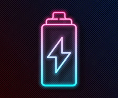 Glowing neon line Battery icon isolated on black background. Lightning bolt symbol. Vector Illustration Vettoriali