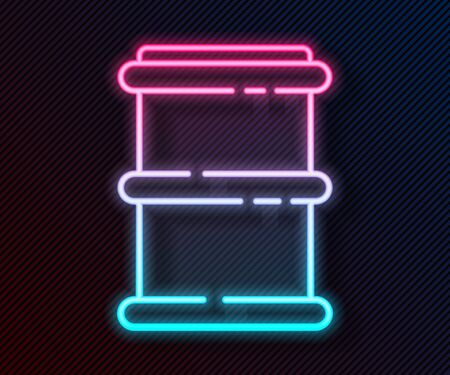 Glowing neon line Barrel icon isolated on black background. Vector Illustration