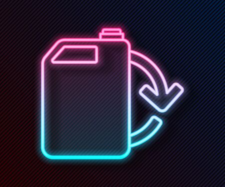Glowing neon line Eco fuel canister icon isolated on black background. Eco bio and barrel. Green environment and recycle. Vector Illustration