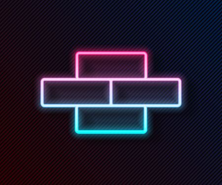 Glowing neon line Bricks icon isolated on black background. Vector Illustration