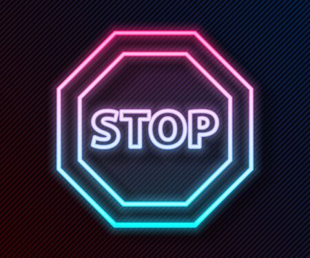 Glowing neon line Stop sign icon isolated on black background. Traffic regulatory warning stop symbol. Vector Illustration