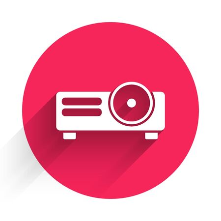 White Presentation, movie, film, media projector icon isolated with long shadow. Red circle button. Vector Illustration