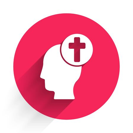 White Human head with christian cross icon isolated with long shadow. Red circle button. Vector Illustration