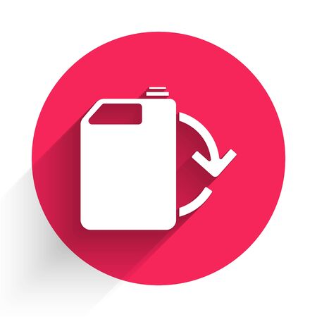White Eco fuel canister icon isolated with long shadow. Eco bio and barrel. Green environment and recycle. Red circle button. Vector Illustration Stock Illustratie