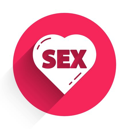 White Heart with text Sex icon isolated with long shadow. Adults content only icon. Red circle button. Vector Illustration Ilustración de vector