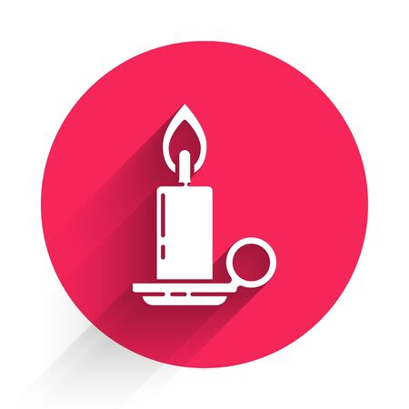 White Burning candle in candlestick icon isolated with long shadow. Cylindrical candle stick with burning flame. Red circle button. Vector Illustration