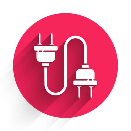 White Electric plug icon isolated with long shadow. Concept of connection and disconnection of the electricity. Red circle button. Vector Illustration