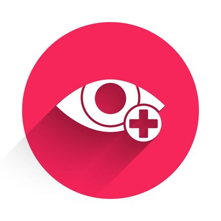 White Red eye effect icon isolated with long shadow. Eye redness sign. Inflammatory disease of eyes. Red circle button. Vector Illustration