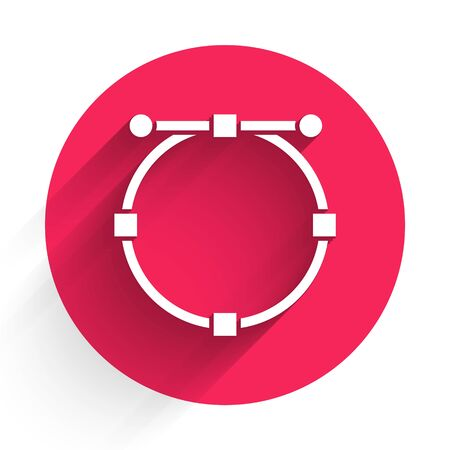 White Circle banner with Bezier curve icon isolated with long shadow. Pen tool icon. Red circle button. Vector Illustration