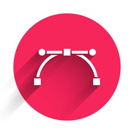 White Bezier curve icon isolated with long shadow. Pen tool icon. Red circle button. Vector Illustration