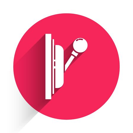 White Electrical panel icon isolated with long shadow. Switch lever. Red circle button. Vector Illustration