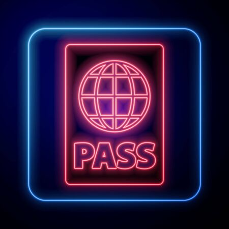 Glowing neon Passport with biometric data icon isolated on blue background. Identification Document.  Vector Illustration Vectores