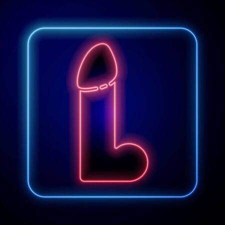 Glowing neon Dildo for games icon isolated on blue background. Sex toy for adult. Vaginal exercise machines for intimate. Vector Illustration