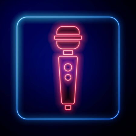 Glowing neon Dildo vibrator for sex games icon isolated on blue background. Sex toy for adult. Vaginal exercise machines for intimate. Vector Illustration