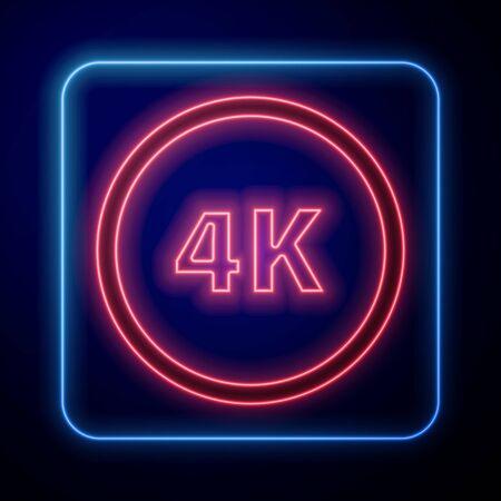 Glowing neon 4k Ultra HD icon isolated on blue background. Vector Illustration Vektoros illusztráció