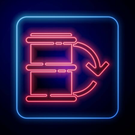 Glowing neon Eco fuel barrel icon isolated on blue background. Eco bio and barrel. Green environment and recycle.  Vector Illustration