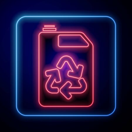 Glowing neon Eco fuel canister icon isolated on blue background. Eco bio and barrel. Green environment and recycle. Vector Illustration