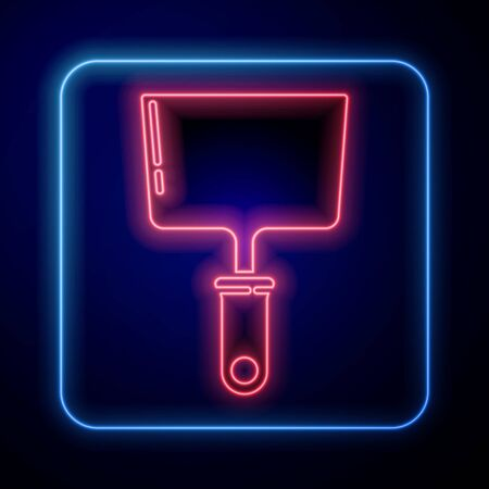 Glowing neon Putty knife icon isolated on blue background. Spatula repair tool. Spackling or paint instruments. Vector Illustration