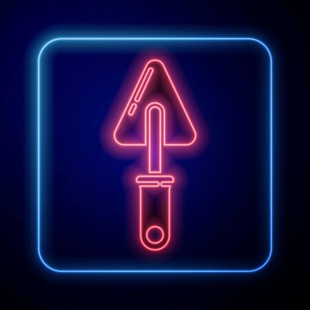 Glowing neon Trowel icon isolated on blue background. Vector Illustration