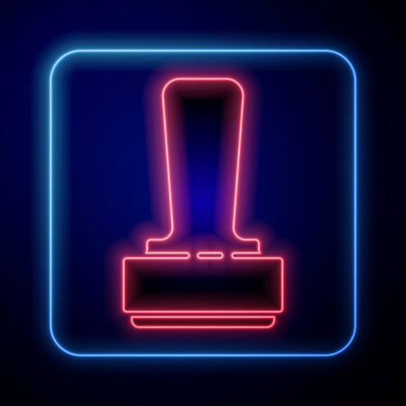 Glowing neon Stamp icon isolated on blue background. Vector Illustration