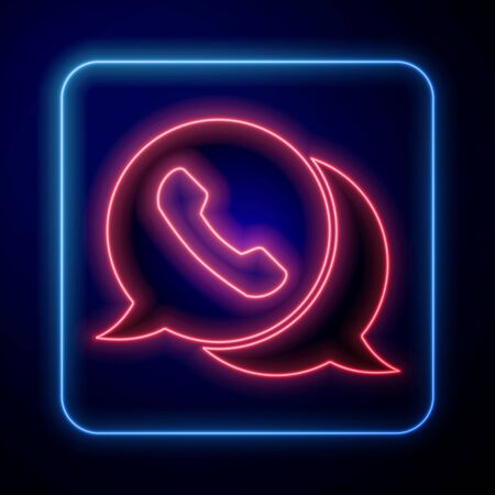 Glowing neon Telephone with speech bubble chat icon isolated on blue background. Support customer service, hotline, call center, faq. Vector Illustration