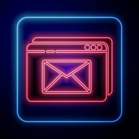 Glowing neon Website and envelope, new message, mail icon isolated on blue background. Usage for e-mail newsletters, headers, blog posts. Vector Illustration