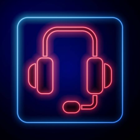 Glowing neon Headphones icon isolated on blue background. Support customer service, hotline, call center, faq, maintenance. Vector Illustration