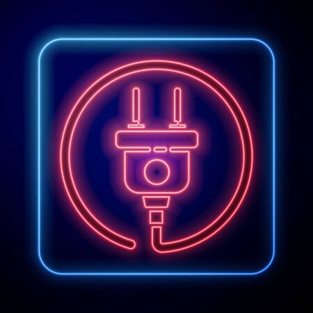 Glowing neon Electric plug icon isolated on blue background. Concept of connection and disconnection of the electricity. Vector Illustration