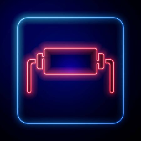 Glowing neon Resistor electricity icon isolated on blue background. Vector Illustration Vettoriali