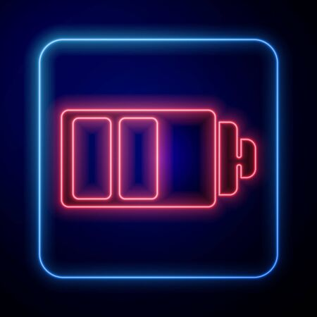 Glowing neon Battery charge level indicator icon isolated on blue background. Vector Illustration