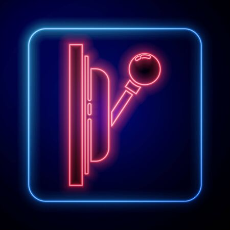 Glowing neon Electrical panel icon isolated on blue background. Switch lever. Vector Illustration