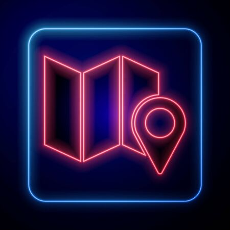 Glowing neon Folded map with location marker icon isolated on blue background. Vector Illustration