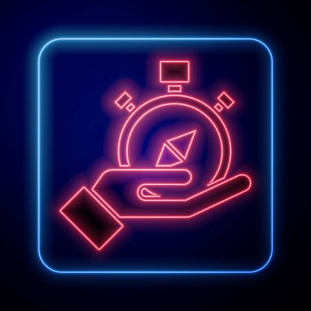 Glowing neon Compass icon isolated on blue background. Windrose navigation symbol. Wind rose sign. Vector Illustration