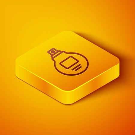 Isometric line Perfume icon isolated on orange background. Yellow square button. Vector Illustration