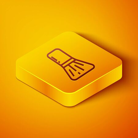 Isometric line Makeup brush icon isolated on orange background. Yellow square button. Vector Illustration
