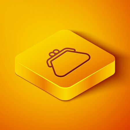 Isometric line Clutch bag icon isolated on orange background. Women clutch purse. Yellow square button. Vector Illustration