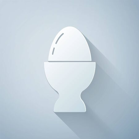 Paper cut Easter egg on a stand icon isolated on grey background. Happy Easter. Paper art style. Vector Illustration