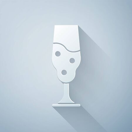 Paper cut Wine glass icon isolated on grey background. Wineglass icon. Goblet symbol. Glassware sign. Happy Easter. Paper art style. Vector Illustration