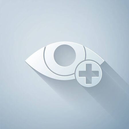 Paper cut Red eye effect icon isolated on grey background. Eye redness sign. Inflammatory disease of eyes. Paper art style. Vector Illustration Vector Illustratie