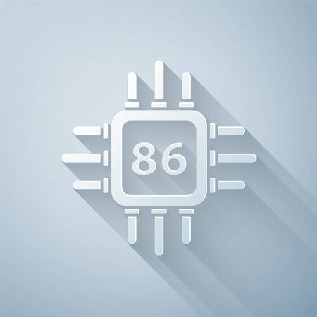 Paper cut Computer processor with microcircuits CPU icon isolated on grey background. Chip or cpu with circuit board. Micro processor. Paper art style. Vector Illustration Vecteurs